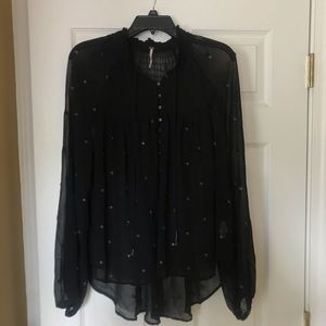 Free People Sheer Black Top with Unique Detail